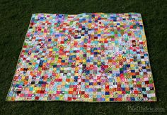 Pixels of Love - Front by PileOFabric with link to Rita/Red Pepper Quilts postage stamp tutorial