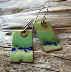 Copper Enamel Earrings in Shades of Green and Navy Blue
