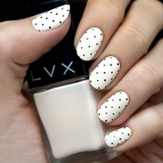 Cream and Black Polka Dot Nail Tutorial