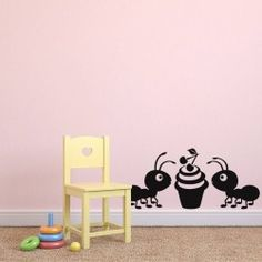 Cute Ants with Ice-cream Cup Wall Decal  Cuteness is loved by everyone. Not to engage in the pursuit of ideas is to live like ants instead like men. Buy this beautiful wall mural to decorate your home walls with ants and ice-cream. This beautiful combination of pair of ants and ice-cream is unique and will add more decor to your Kitchen room.  SMALL :-- 24 X 11 -- IN INCHES MEDIUM :-- 48 X 21 -- IN INCHES LARGE :-- 54 X 24 -- IN INCHES