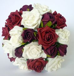 Red, Burgundy, Ivory Brides Bouquet