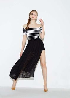 Slit Side Off the Shoulder Patchwork Chiffon Dress