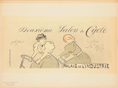 """Original Vintage French Lithograph """"Les Maîtres de l'Affiche"""" by Forain 1897  A reduced version of the original large-scale poster design by J. L. Forain, for the Second Bicycle Show in 1894, held at the Palais de L'Industrie.  Jean-Louis Forain (23 October 1852 – 11 July 1931) was a French Impressionist painter, lithographer, watercolorist and etcher. Followers and admirers of Forain's work include Henri de Toulouse-Lautrec."""