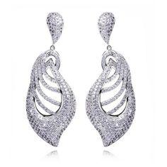 Elisa - CZ Diamonds Gold / Silver Long Drop Earrings