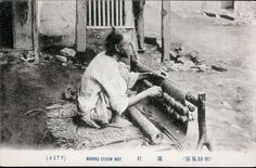 """178 """"Making straw mat"""" Early colonial period postcard. National Anthropological Archive, Smithsonian"""