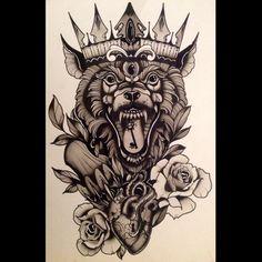 The beast king!!! #art #painting #inkpainting #tattooart #darkart #darkartist #mattbassil #tattoo