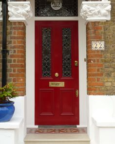 A beautiful red Victorian door maybe from Accoya wood with decorative stained glass panels and finished with brass door furniture. Cottage Front Doors, Victorian Front Doors, House Front Door, Victorian Terrace, House Entrance, Stained Glass Door, Glass Panel Door, Glass Front Door, Sliding Glass Door