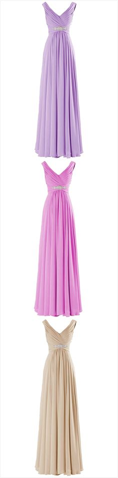 Elegant V Neck A-line Chiffon Long Evening Prom Dress