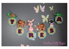 Felt Personalized Animal Name Banner   by EndlessFeltMagic on Etsy, $21.00