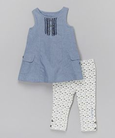 Loving this Blue Tunic & White Square Leggings - Infant, Toddler & Girls on #zulily! #zulilyfinds