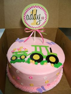 John Deere Girl Cake Done To Match Partyware