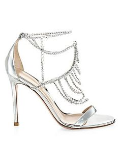 03893e71c2 1695 2019 Gianvito Rossi Metallic Silver Crystal Ankle Sandals Rossi Shoes,  Women's Shoes, Sergio