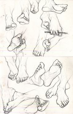 I hate feet eatsleepdraw: A study of feet. Special thanks to Kayla Jones for lending hers. Feet Drawing, Body Drawing, Anatomy Drawing, Life Drawing, Figure Drawing, Drawing Sketches, Painting & Drawing, Art Drawings, Posture Drawing