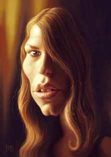 JMS_artworks: Caricature of Ana Ularu, as she appears in the movie 'Serena'. Paintool Sai. 2015