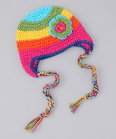 Take a look at this Mon Petit Mardi Rainbow Flower Earflap Beanie by Stocking Stuffers: Kids' Accessories on #zulily today!