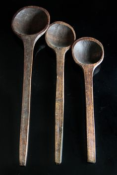 Antique Hand Carved Wooden Spoons