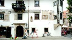 Homan House, the 16th-century house at the Town Square in Skofja Loka, northwestern Slovenia.
