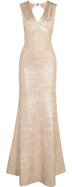 On SALE at 60% OFF! metallic cutout coated bandage gown by Herve Leger. Designed to sculpt and hold your figure . Firm, slightly stretchy fabric . Those with a curvy figure may wish to take...