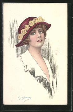old postcard: Künstler-AK junge Frau mit Hut