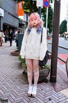 Dip Dye Hair, Cable Knit Sweater, Prada & Jeffrey Campbell in Shibuya - Tokyo Japanese Street Fashion, Tokyo Fashion, Harajuku Fashion, Kawaii Fashion, Cute Fashion, Harajuku Girls, Harajuku Makeup, Alternative Mode, Alternative Fashion