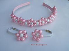 mara flori bijuterii: Set-coronita si elastice de par din perlute