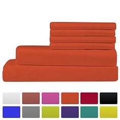 Premium Bamboo Bed Sheets - Queen Size, Orange Sheet Set - Deep Pocket - Ultra Soft Cool Bedding - Hypoallergenic Blend From Natural Bamboo - 1 Fitted, 1 Flat, 4 Pillow Cases - 6 Piece Queen Sheets, Bed Sheets, Special Deals, Cool Beds, Queen Size, Sheet Sets, Pillow Cases, Bamboo, Bedding