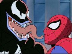 Spiderman VS Venom ( Eddie Brock ), Spiderman: The Animated Series Peter Spiderman, Amazing Spiderman, Marvel Animation, Animation Series, Spider Man Animated Series, Sans X Frisk Comic, Marvel Venom, Classic Cartoons, Spider Verse
