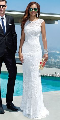 Long Beaded Lace Dress
