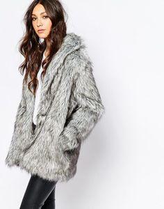 Religion Women's Faux Fur Wolf Grey winter coat / jacket
