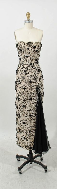 Ceil Chapman Black and White strapless beaded gown, c.1950's.