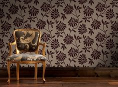 Ophelia Wallpaper by Barbara Hulanicki - Brown Floral Wall Coverings by Graham & Brown Grape Wallpaper, Cheap Wallpaper, Textured Wallpaper, Barbara Hulanicki, Discount Wallpaper, Buy Wallpaper Online, Brown Floral, Floral Wall, Wingback Chair