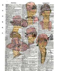 Lady Heads  Vintage Dictionary Book Page Art by KFLGetsHerFunkOn