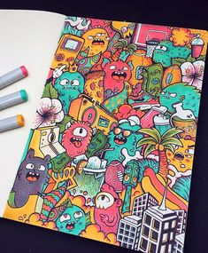Finished Three Marker Challenge ✍️ I'm pretty happy with the result, the doodles came our great and the colors give it a unique feel (in my opinion at least). I hope you guys also like it ! There is a video from this challenge over on my YouTube channel, I've put a lot of effort into it so it would mean the world if you could go check it out I'm gonna work some more on animal doodles like the tiger doodle I did a few months ago (probably with a bear, eagle, deer, or another animal from your…