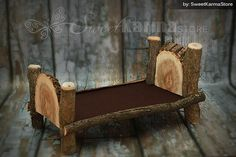 Custom Newborn Log Bed or Doll Bed - Real Physical Photography Prop -Prop Only $74.95