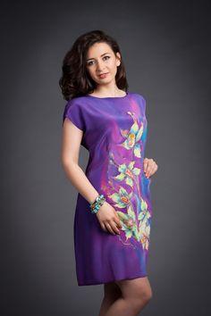 Hand painted silk dress. Summer silk dress. by batikelenakotova