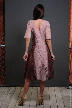 """Купить Валяное платье на шелке """"Brun clair"""" - валяное платье, Платье нарядное, платье"""