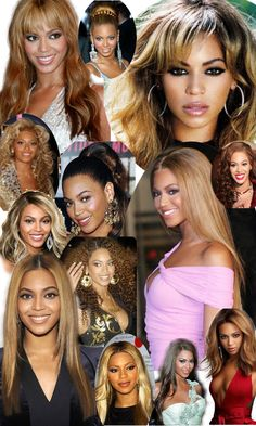 Beyonce's many hairstyles. From Lace Front wigs, to updos, and all.