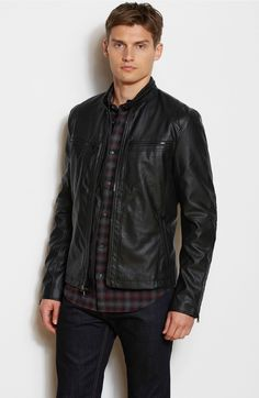 Fitted Faux Leather Moto Jacket - Jackets & Blazers - Mens - Armani Exchange
