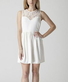 Look what I found on #zulily! White Lace-Collar Fit & Flare Dress #zulilyfinds