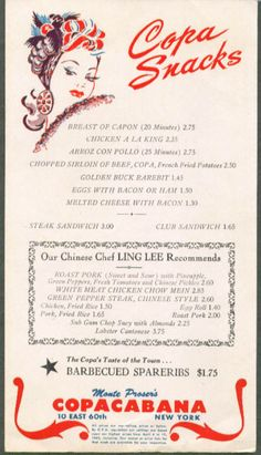 Copacabana Menu 1947