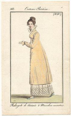 Le costume Parisien - 1813 - redingote de casimir à manches ouvertes.