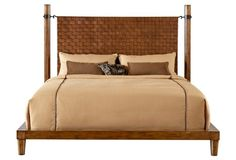 Cognac Crofter Woven Leather Bed, King