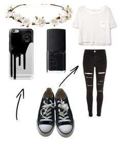 Black and White Party by lailamorris on Polyvore featuring polyvore, MANGO, River Island, Converse, Casetify, Cult Gaia, NARS Cosmetics, fashion, style and clothing