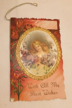 Valentine Victorian Woman Flowers Man w/Wig Playing Violin, Woman w/Book-Music