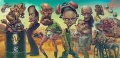 """Caricature of the """"Bad Guys"""" from the TV show Breaking Bad. French illustrator and graphic designer Anthony Geoffroy has created a series of sinister caricatures of the main characters of AMC's Breaking Bad. Drug Quotes, Breaking Bad, Movie Tv, Concept Art, Fan Art, Funny, Illustration, Poster, Painting"""
