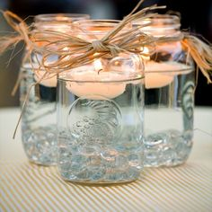 Centerpiece for country style wedding. Simple and easy :)