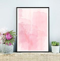 Pink Watercolor Abstract Art Print Printable by inthepinkprints