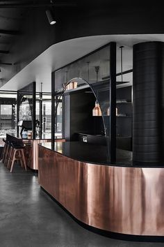 Jamu restaurant review - Melbourne, Australia | Following the interior aesthetic, the food that emerges from the open kitchen is just as contemporary with dishes, like tom yum gazpacho and ceviche served with tamarind, pineapple and rice paddy herb #food #restaurants #interiors #design #copper #melbourne #restaurantdesign