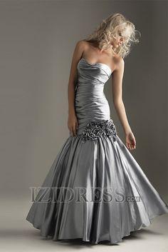 Silver Trumpet/Mermaid Strapless Sweetheart Satin Prom Dresses