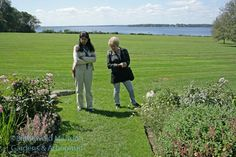 Gail and Helen Dillon opinionating about the North Garden
